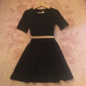 Ann Taylor Loft Textured Short Sleeved Black Dress